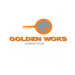 Restaurant Golden Woks chinese food logo
