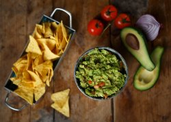 Chips and fresh guacamole