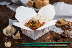 Pui cu legume, bambus și ciuperci Shiitake
