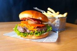 Bacon & Cheddar Burger + Latte
