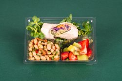 Rulou hummus & Salata de fasole & Fructe