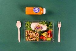 Rulou hummus & Salată de fasole & Fructe + Suc de portocală, morcov, ghimbir