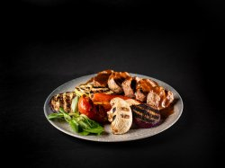 Pork Tenderloin with Guinness Sauce and grilled vegetables image