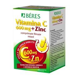 Vitamina C 600 mg + Zinc, 60 comprimate, Beres Pharmaceuticals..