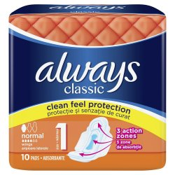 Absorbante Always Classic Normal, 10 bucati, P&G