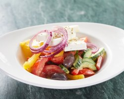 Authentic greek salad with fresh oregano and feta cheese from thessalonki image