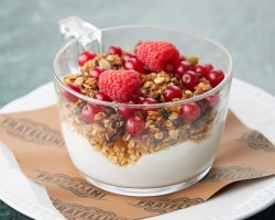 Classic greek: greek yoghurt,  honey and homemade granola image
