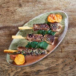 Yakitori Beef Skewers marinated in ginger soy image
