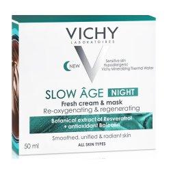 Cremă de noapte și masca de față cu efect răcoritor pentru toate tipurile de ten Slow Age, 50 ml, Vichy
