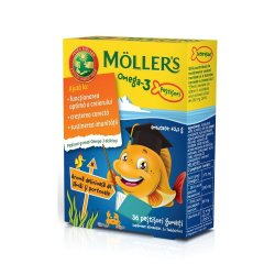 Pestisori gumati cu Omega-3 aroma de lamaie verde si capsuni, 36 jeleuri, Moller`s