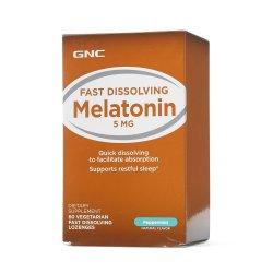 Melatonina cu aromă de mentă 5 mg (135212), 60 tablete, GNC