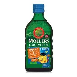 Omega 3 ulei ficat de cod cu aromă de tutti-frutti pentru copii, 250 ml, Moller`s