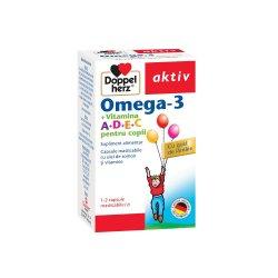 Omega 3 Vitamina A+D+E+C pentru copii, 30 capsule, Doppelherz