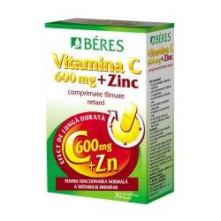 Vitamina C 600 mg + Zinc 15 mg, 30 comprimate, Beres