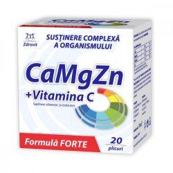 CaMgZn + Vitamina C, 20 plicuri, Zdrovit