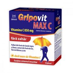 Gripovit Max C fără zahăr, 10 plicuri, Zdrovit