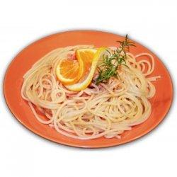 Spaghetti al Safran con Gamberi