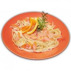 Spaghetti al Safran con Salmone Affumicato