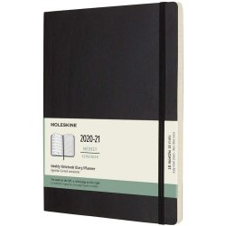 Agenda 2020-2021 - Moleskine 18-Month Weekly Notebook Planner - Black, X-Large, Soft Cover