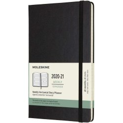 Agenda 2020-2021 - Moleskine 18-Month Weekly Horizontal Planner - Black, Large, Hard Cover