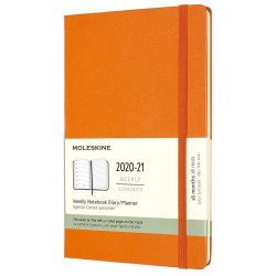 Agenda 2020-2021 - Moleskine 18-Month Weekly Notebook Planner - Cadmium Orange, Large, Hard Cover