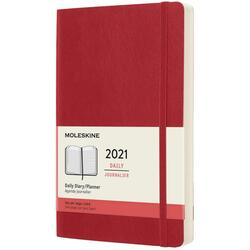 Agenda 2021 - Moleskine 12-Month Daily Notebook Planner - Scarlet Red, Softcover Large