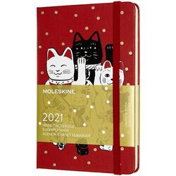 Agenda 2021 - Moleskine 12-Month Weekly Notebook Planner - Maneki-Neko - Red, Hardcover Pocket