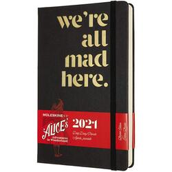 Agenda 2021 - Moleskine 12-Month Daily Notebook Planner - Alice's Adventures in Wonderland - We're All Mad Here, Hardcover Large