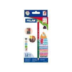 Set 12 Creioane colorate bicolor - Milan