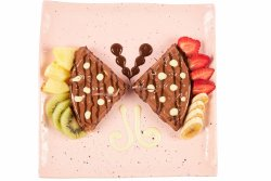 Fresh fruits heaven chocolate waffle image