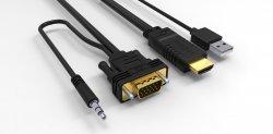 Cablu HDMI cu chip la VGA cu audio și alimentare USB 1.8m
