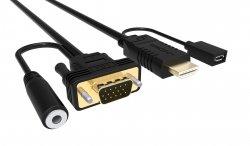 Cablu HDMI cu chip la VGA cu audio și alimentare microUSB 1.8m