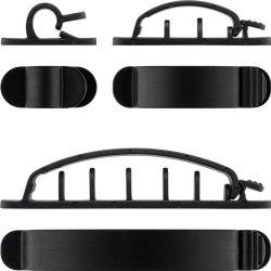 Cleme pentru gestionarea cablurilor Goobay, set 6 bucăți, negru