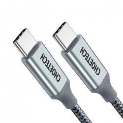 Cablu USB-C - USB-C Choetech XCC1002, PD 100W, 1.8m, gri
