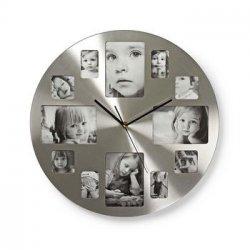 Ceas de perete cu rama foto 40 cm argintiu Nedis