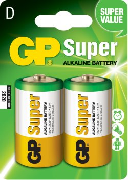 Baterie alcalina Super GP R20 (D) 2 buc/blister