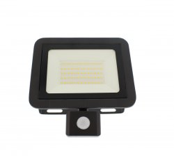 Proiector LED cu senzor, 50W, 4000lm, IP44, 4000K, negru, Well