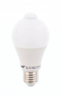 Bec cu LED cu senzor PIR A60 10W lumina naturala Well