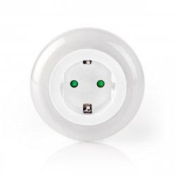 Lampă de veghe cu senzor lumină și priză Nedis, iluminare 3 culori, 10 lm