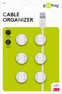 Cleme pentru gestionarea cablurilor cu 2 sloturi Goobay, set 6 bucăți, alb