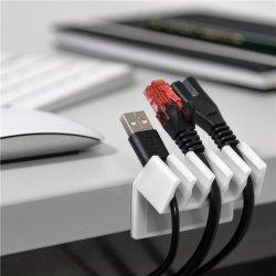 Cleme pentru gestionarea cablurilor cu 5 sloturi Goobay, set 2 bucăți, alb