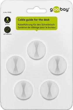 Cleme pentru gestionarea cablurilor cu 1 slot Goobay, set 5 bucăți, alb