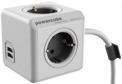 Prelungitor în formă de cub 4 prize, 2 USB, lungime cablu 3m, Extended USB, Allocacoc
