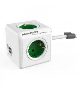 Prelungitor în formă de cub 4 prize, 2 USB, lungime cablu 1.5m alb/verde, Allocacoc