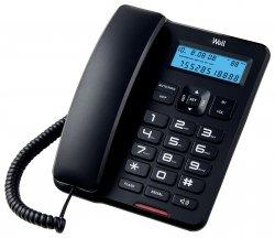 Telefon cu fir de masă cu afișaj negru CD001 Well