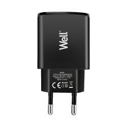 Alimentator USB 230V 2 iesiri 2.4A negru Well