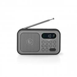 Radio portabil funcție de ceas cu alarmă FM 2.1W negru/gri Nedis