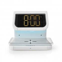 Ceas cu alarmă Nedis, încărcător wireless, certificat Qi, iluminare multicoloră, alb