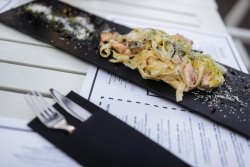 Salmon pasta image