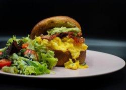 Guac bacon omelette burger